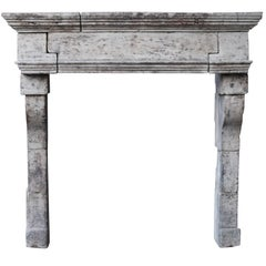 17th Century Vintage Fine French Country Fireplace in Limestone