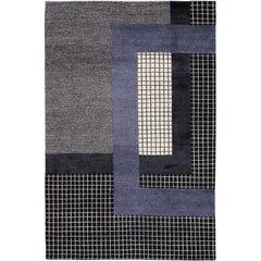 Mainland Dark Hand-Knotted 6x4 Area Rug in Wool and Silk by Sebastian Herkner