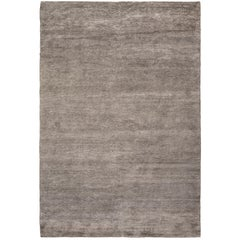 Bamboo Silk Silver Hand-Knotted 6x4 Area Rug in Bamboo Silk by The Rug Company