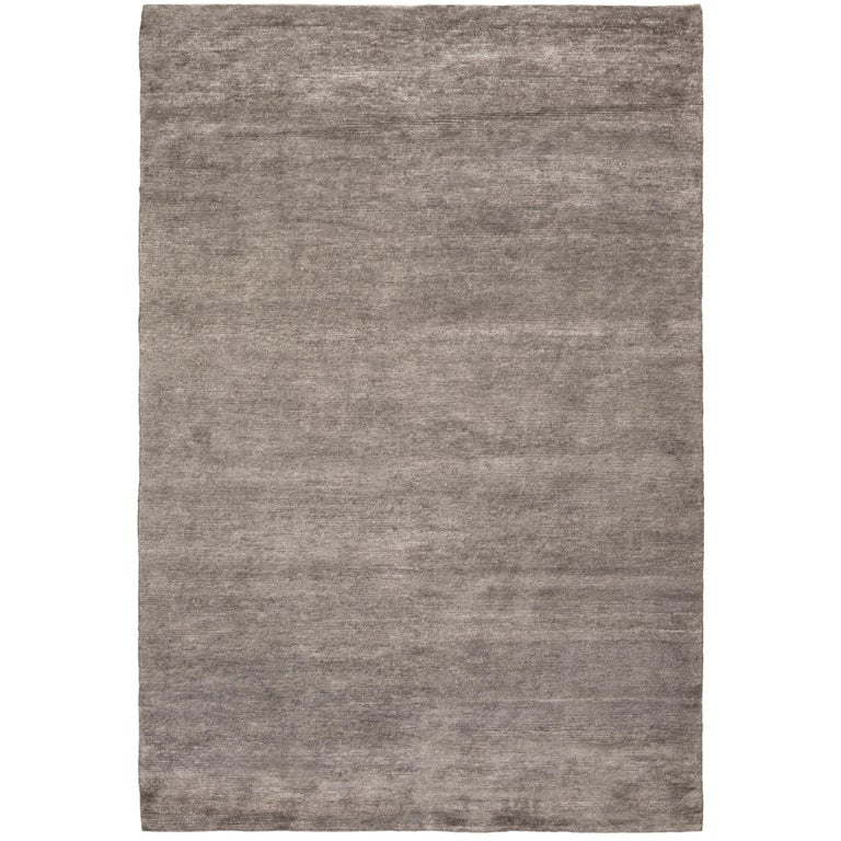 Bamboo Silk Silver Hand Knotted 6x4 Area Rug In By The Company