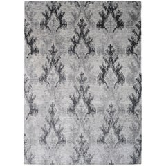 Ikat Bamboo Charcoal 6x4 Hand-Knotted Area Rug in Silk by The Rug Company