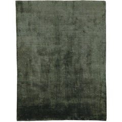 Mohair Slate Short Pile 6x4 Hand-Knotted Area Rug in Wool by The Rug Company