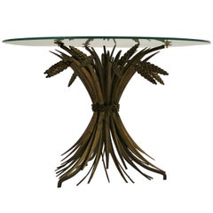 Vintage Gilt Metal Sheaf of Wheat Coco Chanel Side Table, Italy, 1960s