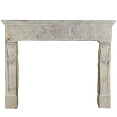 17th Century French Country Antique Wild Boar Detail Fireplace Mantle