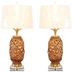 Exquisite Pair of Restored Vintage Rattan Vessels as Custom Lamps