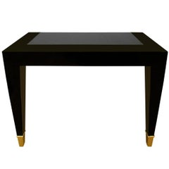 Pace Black Lacquer Console Table with Inset Granite Top and Brass Sabots, 1980s