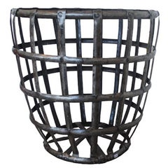 20th Century Iron Wood Basket