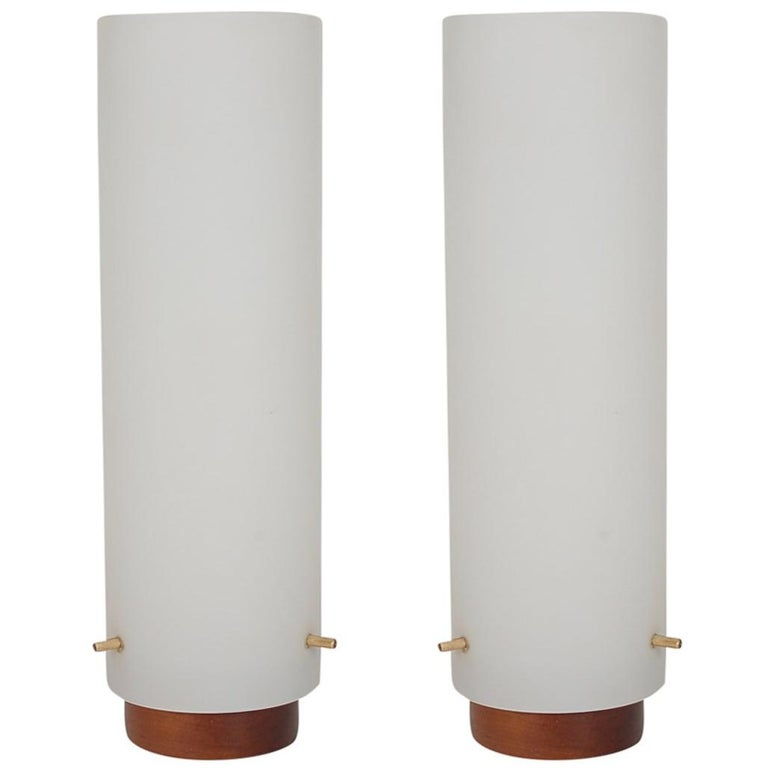 Midcentury Danish Modern Walnut and Frosted Glass Cylinder Table Lamps
