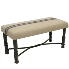 Rectangular Twisted Iron Metal Bench with Upholstered Top, France, circa 1900