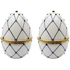 "Italian Ceramic Rete Blue and Gilt Bronze ""Egg Form"" Covered Box by Sigma L2"