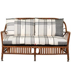 1920s Bent Wood Settee with Injiri Upholstery