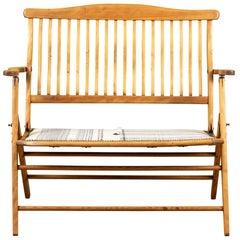 Antique Folding Bench with Injiri Organic Cotton Upholstery