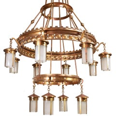 Immense Arts & Crafts Twelve Lantern Chandelier