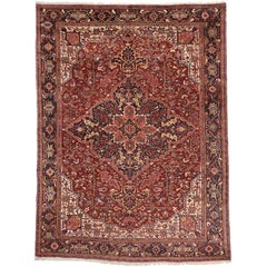 Antique Persian Heriz Area Rug with Modern Traditional Style