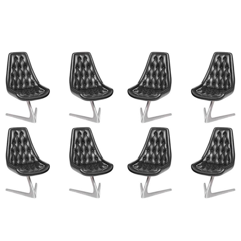 Set of Eight 'Star Trek' Sculpta Swivel Chairs by Chromcraft For Sale