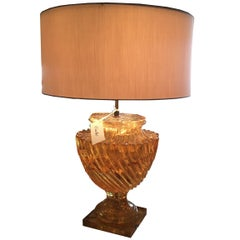Large Vintage Amber Carved Resin Lamp
