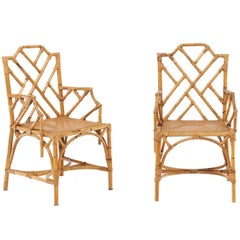 Pair of Vintage Chinese Chippendale Rattan Chairs from the Mid-20th Century