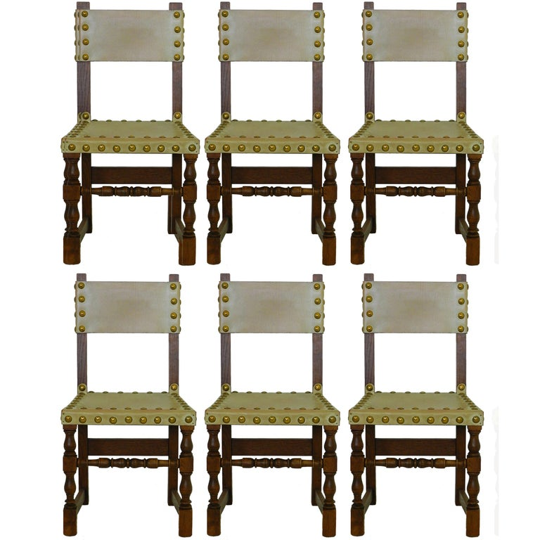 Six Dining Chairs Vintage 20th Century Spanish Leather Brass Studs Oak