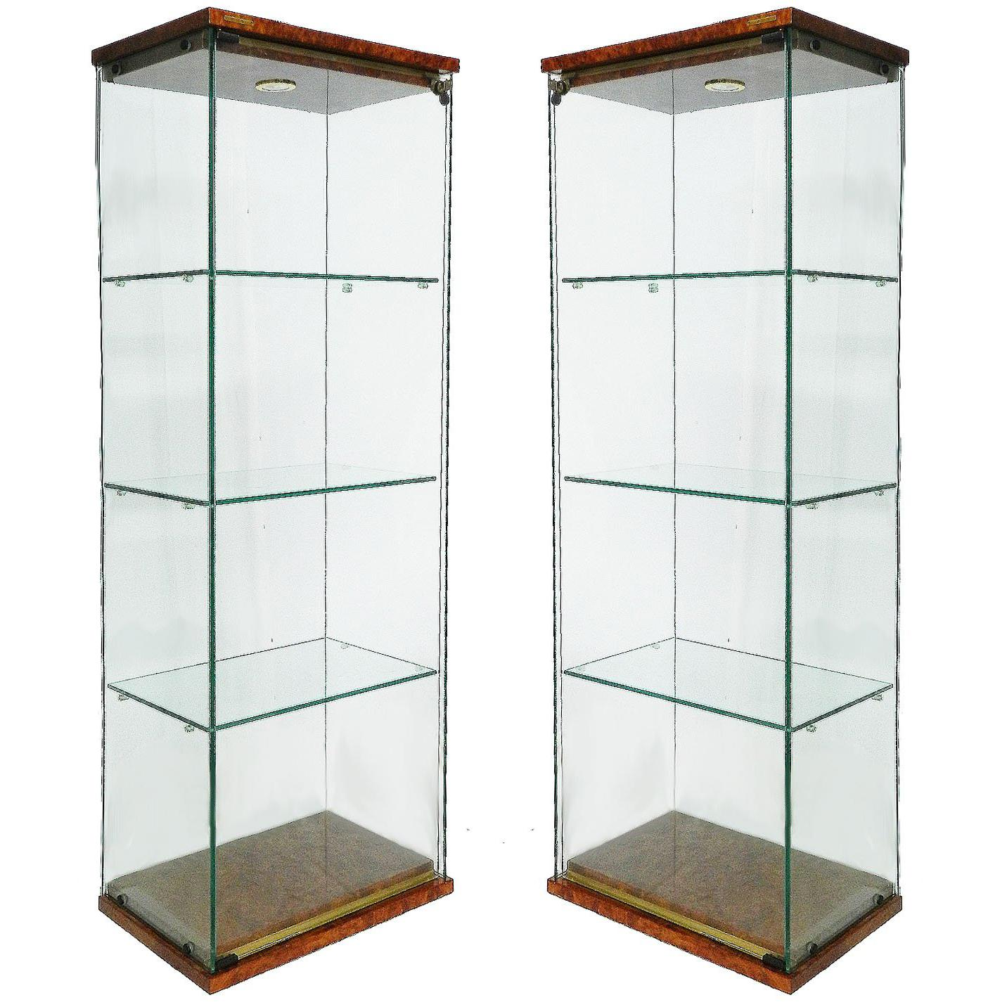 Pair Of Pierre Vandel Vitrines French Midcentury Illuminated Showcase  Cabinets For Sale