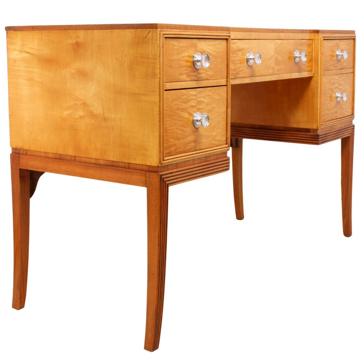 Art Deco Dressing Table In Satin Birch