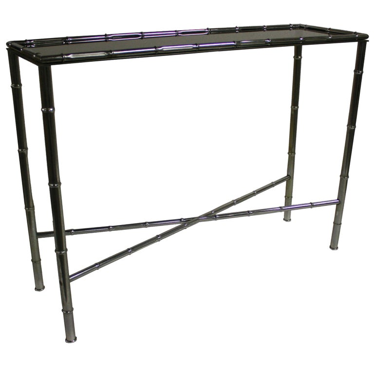 Faux Bamboo Console Table in Chrome, 1960s, France