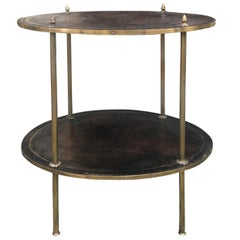 20th Century Two-Tier Oval Leather and Brass Side Table