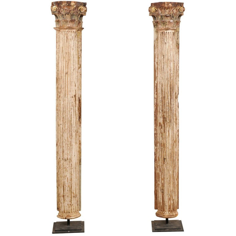 Pair of Early 18th Century Italian Corinthian Columns on Stands
