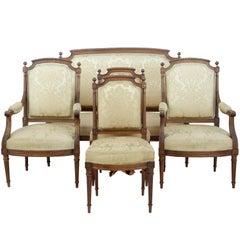 Fine 19th Century Carved Walnut French Five-Piece Salon Suite