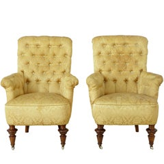 Pair of 19th Century Victorian Button Back Armchairs