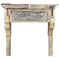 17th Century Original French Country Limestone Antique Fireplace Surround