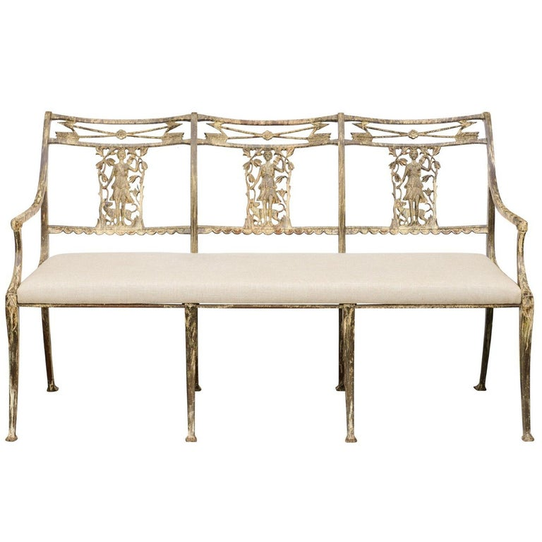 Vintage Wrought-Iron Diana the Huntress Pattern Garden Bench with Upholstery For Sale