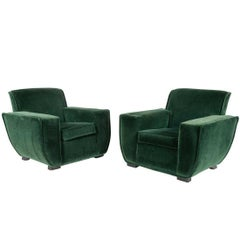 1940s Pair of French Art Deco Chairs in Mohair