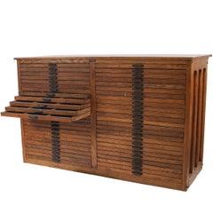 American Mission Style Oak Flat File Cabinet