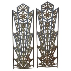 Art Deco Cast Iron Grates, Set of Two