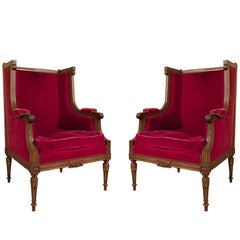 Pair of Late 19th Century Mahogany French Wing Armchairs