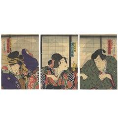 Utagawa Yoshiiku Kabuki Theater Play Triptych, Ghost, Shoji Screen, Kimono, Rats