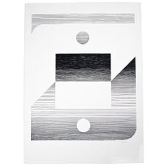 Abstract Lithograph in Black and White by Michel F. Berckelaers Seuphor, 1980