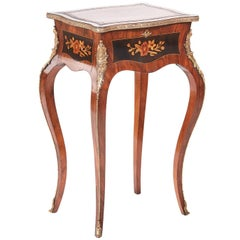 Fine French Marquetry Inlaid Walnut Occasional Table
