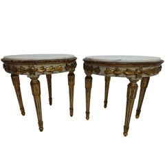 Pair of Carved, Painted and Gilt Side Tables with Marble Top, Italy 18th Century