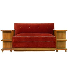 Art Deco Sofa French Canapé Bed with Integrated Cabinets and Shelves c1930