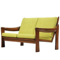 Mid-Century Modern Sculpted Wood Settee