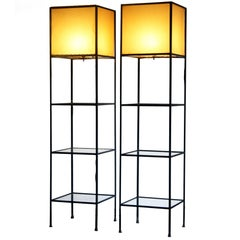 Pair of Architectural Frederick Weinberg Modern Floor Lamps with Shelves