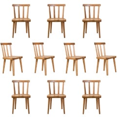 Axel-Einar Hjorth, a Set of Ten Swedish Pine Utö Chairs