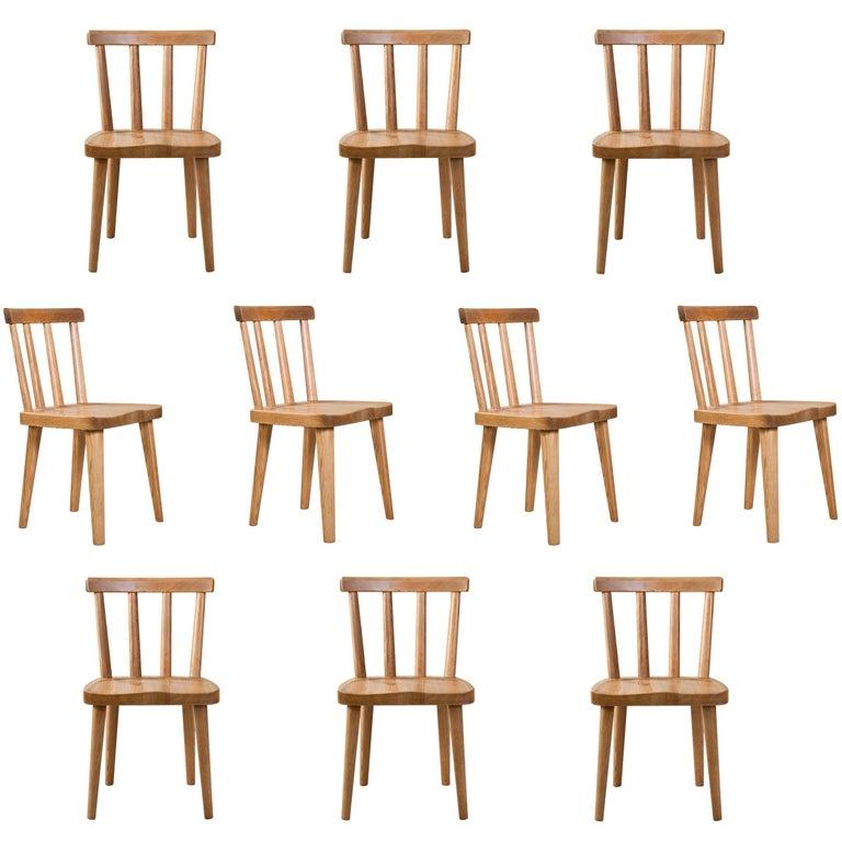 Axel-Einar Hjorth, a Set of Ten Swedish Pine Utö Chairs