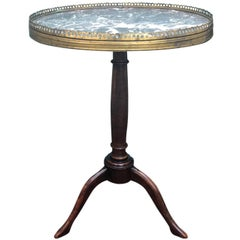 20th Century Louis XVI Style Neoclassical Table with Marble Top and Bronze Edge