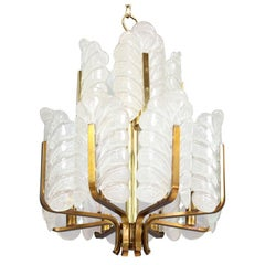 "Carl Fagerlund ""Acanthus Leaf"" Glass Chandelier for Orrefors"