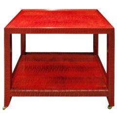 Karl Springer Fine End Table in Red and Black Snake Skin 1988