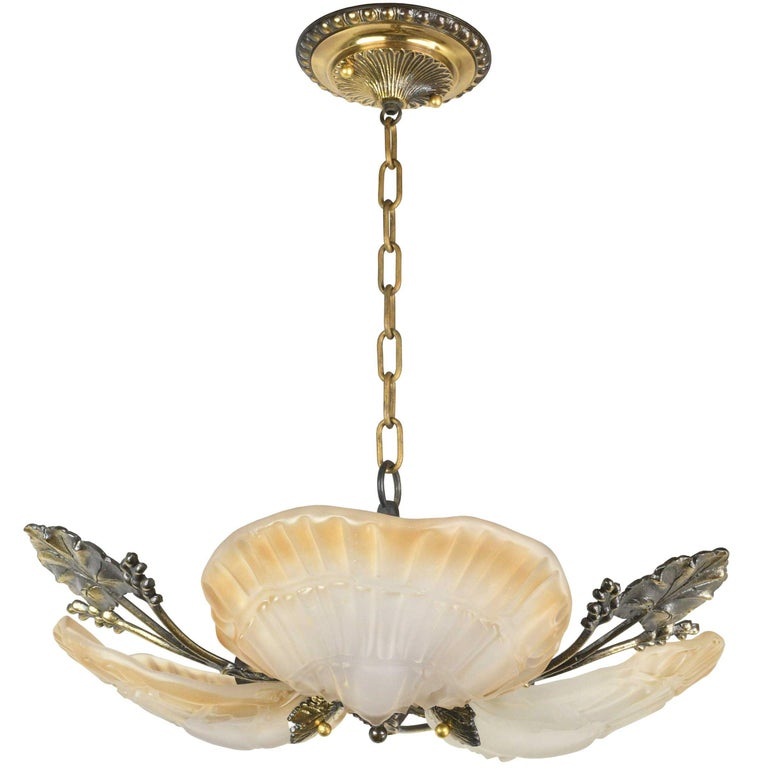 Three-Light Leafy Brass Chandelier with Shell Shades