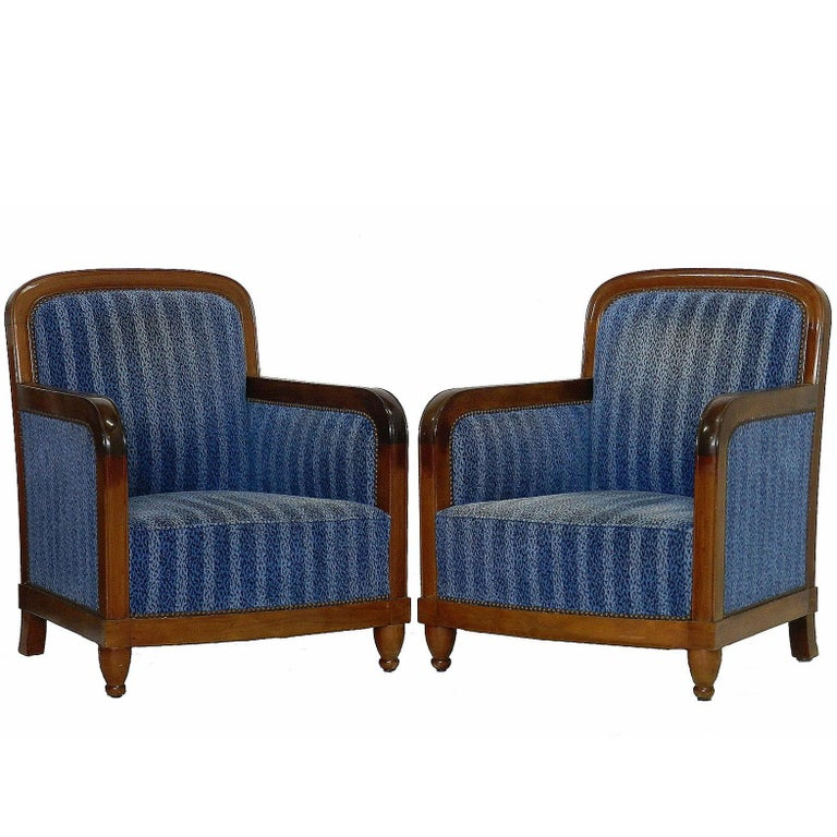 Pair of Art Deco Club Chairs French Two Armchairs, circa 1930