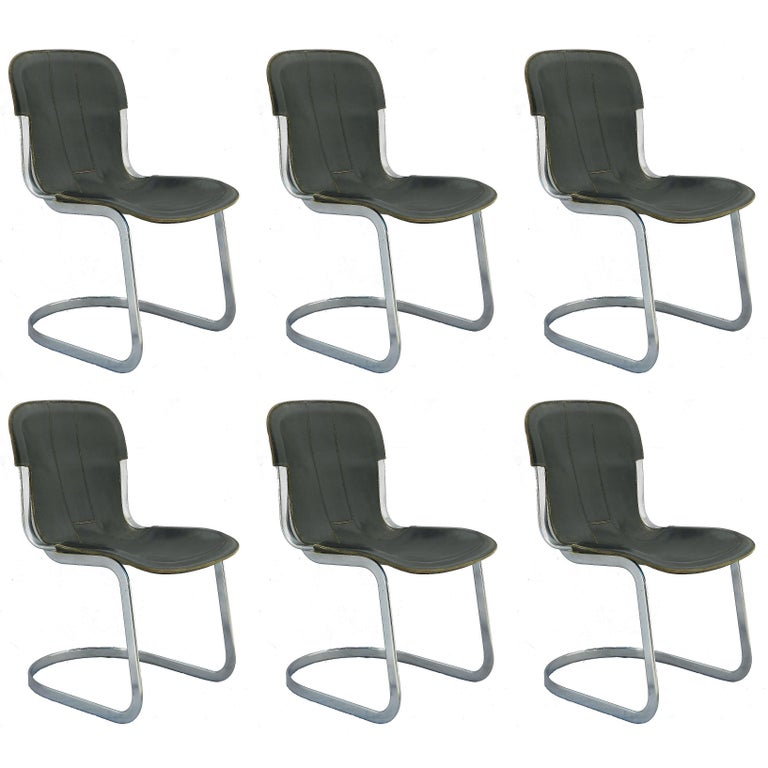 Six Willy Rizzo Dining Chairs for Cidue Italy Black Leather, 1970s